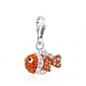 Finding Nemo Charm .925 Sterling Silver clip on Charm for Charm Bracelets with. Crystal Elements