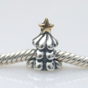 Christmas Tree - Gold Plated & Sterling Silver Charm Bead - fits Pandora, Chamilia etc style Bracelets - SpangleBead - One Only Supplied