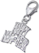 Genuine 925 Sterling Silver Happy New Year Charm with CZ Stone - FREE GIFT BOX