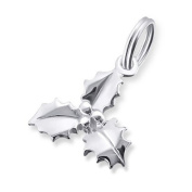 Sterling Silver Christmas Holly Split Ring Pendant/Charm (1.3cm x 1.3cm) Supplied in Gift Box