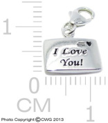 "1.5g Solid .925 Sterling Silver ""I Love You"""" Envelope Charm/Pendant - Anti-Tarnish/Epoxy Colour & Black Inlay"