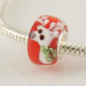 Reindeer Picture - Glass & Sterling Silver Charm Bead - fits Pandora, Chamilia etc style Bracelets - SpangleBead