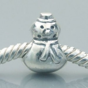 Snowman - Sterling Silver Charm Bead - fits Pandora, Chamilia etc style Bracelets - SpangleBead