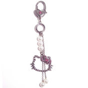 Genuine Sanrio Hello Kitty 'Pearl' Austrian Crystal Charm Keyring Bag Charm Gift Boxed