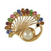 Peacock Pearl and Multi Coloured Crystal Scarf Clip