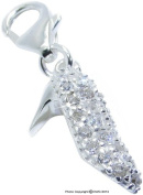 1g Solid .925 Sterling Silver Ladies Fashion Shoe Charm/Pendant with CZ Stones & Anti-Tarnish