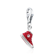Red Sneaker Clip Charm .925 Sterling Silver clip on Charm for Charm Bracelets with. Crystal Elements