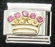 Crown with 5 pink stones enamel charm - 9mm Italian charm will fit Nomination classic bracelet