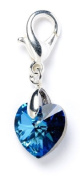 Sterling Silver Bermuda Blue. Element Crystal Heart Clip on Charm for Charm Bracelets