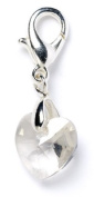 Sterling Silver 'Silver Shade. Element Crystal Heart Clip on Charm for Charm Bracelets