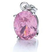 Ladies Rhodium Plated Oval Stone (Pink) Charm