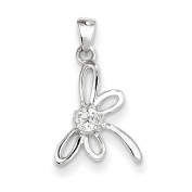 Sterling Silver Dragon Fly With CZ Centre Pendant - JewelryWeb