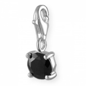 MELINA Charms clip on pendant black zirconia stone sterling silver 925