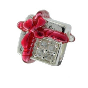 Red Enamel & Silver 'Wrapped Present or Gift Box' Sterling Silver Charm Bead with Bling Cubic Zirconia (CZ) Stones - for Pandora Style Bracelets & Necklaces