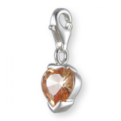 MELINA Charms clip on pendant heart sterling silver 925 zirconia