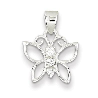 Sterling Silver CZ Butterfly Pendant - JewelryWeb