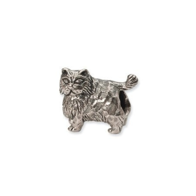 Black Bow Jewellery Company : Sterling Silver Persian Cat Charm for 3mm Charm Bracelets