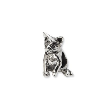 Black Bow Jewellery Company : Sterling Silver Abyssinian Cat Charm for 3mm Charm Bracelets