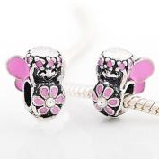 Believe Beads © 1 X Pink Flower Fairy with Clear Stone Charm Bead fits Pandora/Troll/Chamilia style Bracelets