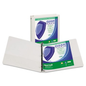 """Clean Touch Round Ring View Binder with Antimicrobial Protection, 4"""", White"""