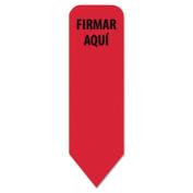 "Spanish Arrow  Flags Refill for Roll Dispenser, ""FIRMAR AQUI"", Red, 120/PK"