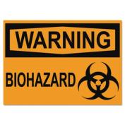 OSHA Safety Signs, WARNING BIOHAZARD, Orange/Black, 10 x 14