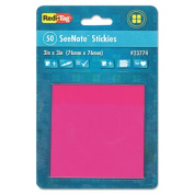 Transparent Film Sticky Notes, 3 x 3, Neon Pink, 50-Sheets/Pad