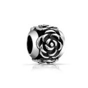 Bling Jewellery 925 Sterling Silver Rose Flower Bead .
