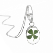 Sterling silver oval pendant with a real four-leaf clover! - includes an 46cm silver chain & giftbox