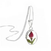 Sterling silver oval pendant made with real miniature rose buds - includes an 46cm silver chain & giftbox