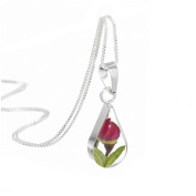 Sterling silver teardrop pendant with a real miniature rose bud - includes an 46cm silver chain & giftbox
