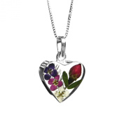 Silver heart pendant - Single rose & violet flowers - includes an 46cm chain & giftbox.