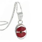 Silver Pendant with a real poppy - Oval - includes an 46cm silver chain & giftbox