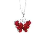 Silver Pendant made with real flowers - Poppy - Butterfly - includes an 46cm silver chain & giftbox