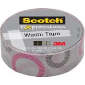 3M C314-p24 Washi Tape . 59 inch x 393 inch - 15mmx10m -Stripe Circle