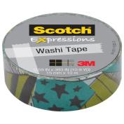 3M C314-P12 Washi Tape . 59 inch x 393 inch - 15mmx10m -Teal & Black Stars