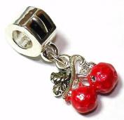 Cherry Dangle - Silver Plated Charm Bead - fits Pandora, Chamilia etc style Bracelets - SpangleBead