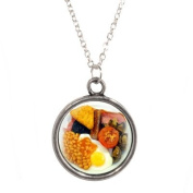 Silver Plated Chain Necklace with Full English Breakfast Design Pendant