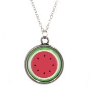 Silver Plated Chain Necklace with Watermelon Design Pendant