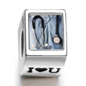 Soufeel Heart Stethoscope Photo I Love U European Charms Fit Pandora Bracelets