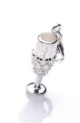 Silver cubic zirconia champagne flute trigger charm