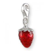 MELINA Charms clip on pendant strawberry sterling silver 925 enamel