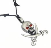 Pewter Pirate Skull and Cross Bones Pendant on Black Cord Necklace - Adjustable 36 - 72 cm
