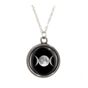 Silver Plated Chain Necklace with Triple Moon design Pendant