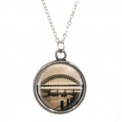 Tyne Bridge Scene Design Pendant on Silver Plated Chain Necklace in Gift Box