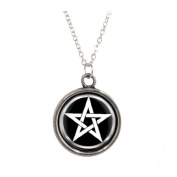 Silver Plated Chain Necklace with Pentagram design Pendant