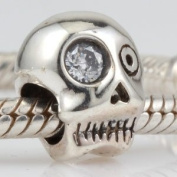 Skull Crystal Eye - Sterling Silver Charm Bead - fits Pandora, Chamilia etc style Bracelets - SpangleBead