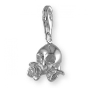 MELINA Charms clip on pendant skull with rose sterling silver 925