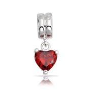 Bling Jewellery 925 Sterling Silver Red CZ Dangle Heart .