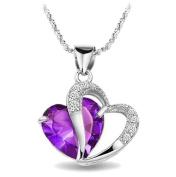 Aokeshen Love Heart Amethyst Dangle Necklace Pendant 925 Sterling Silver Charms Women Wedding Jewellery Gift- Purple